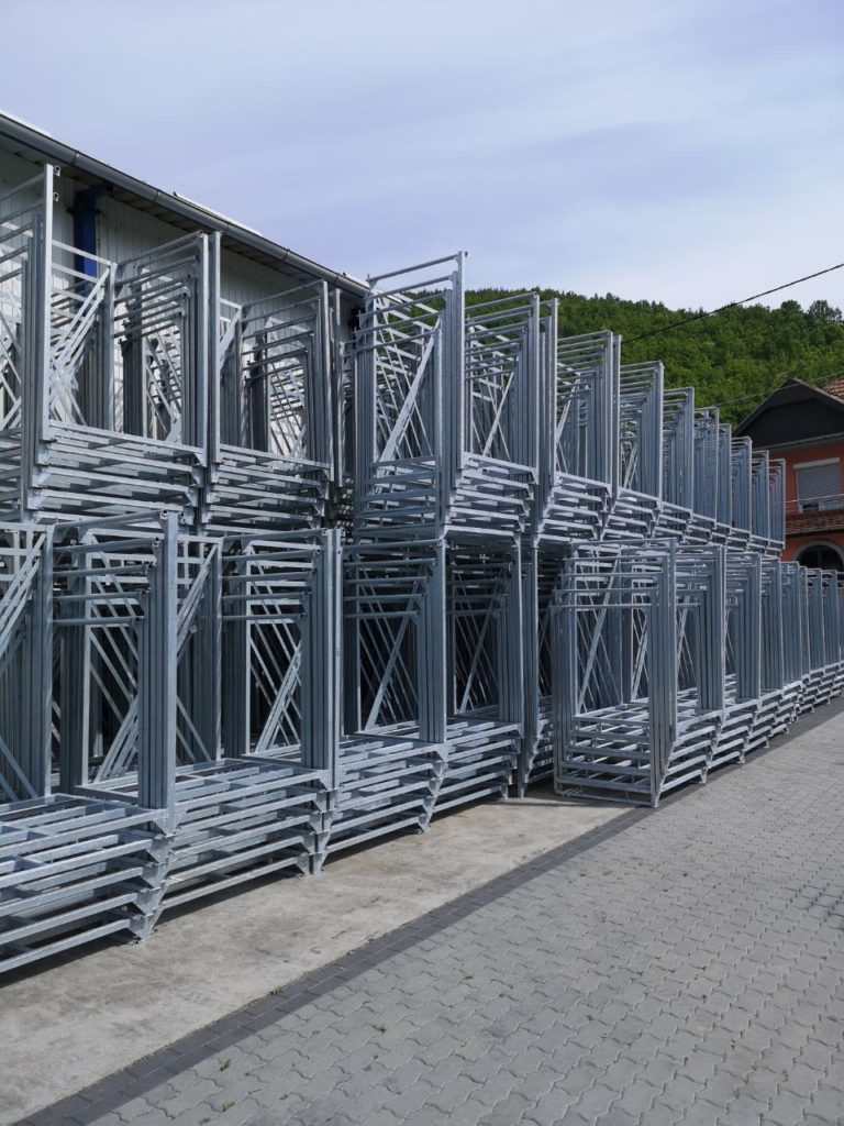 Pallet racks for IQF fruit storage